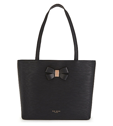 TED BAKER Cattass small textured leather shopper (Black