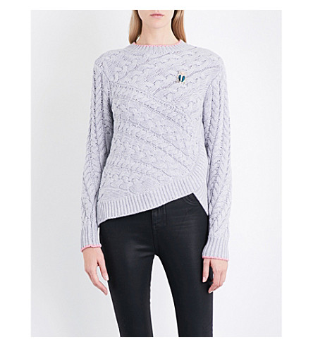 TED BAKER Cable-knit cotton-blend jumper (Grey