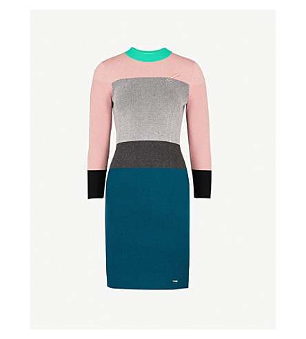 TED BAKER Colour by Numbers block-pattern knitted dress (Grey