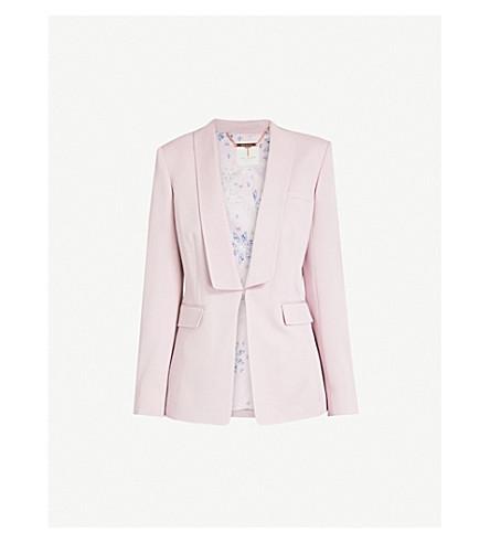 TED BAKER Open-front crepe blazer (Dusky+pink