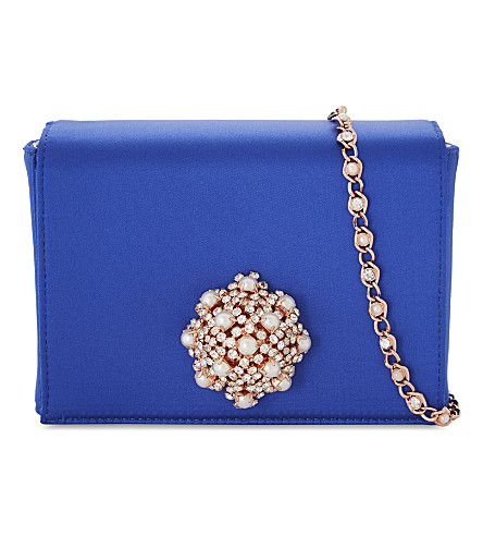 TED BAKER Selinaa brooch satin evening bag (Blue