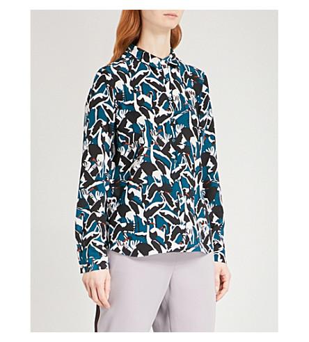 TED BAKER Crane silk-chiffon shirt (Teal