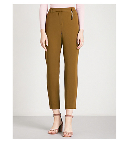 TED BAKER Striped tapered high-rise woven trouser (Khaki