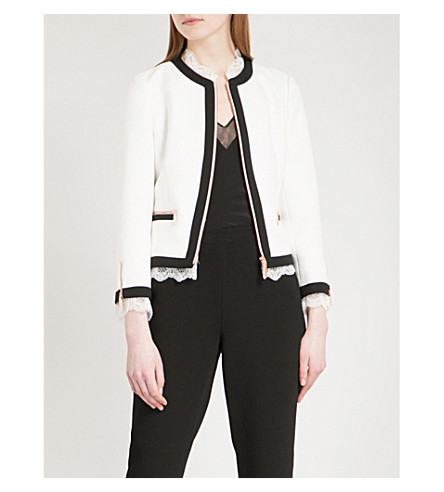 TED BAKER Lace-trim woven jacket (White