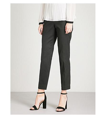TED BAKER Miraat textured tailored diamond-jacquard trousers (Black