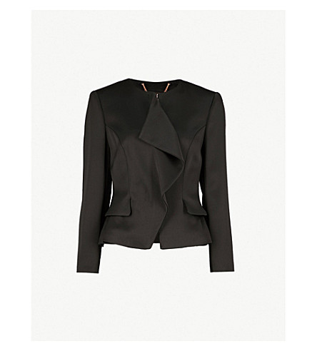 TED BAKER Palar ruffled satin peplum jacket (Black