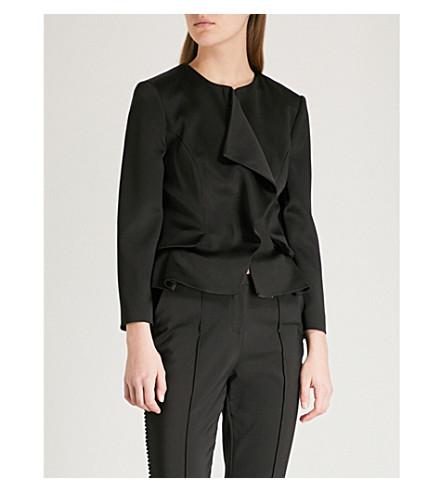 TED BAKER Palar ruffled satin peplum jacket (Black