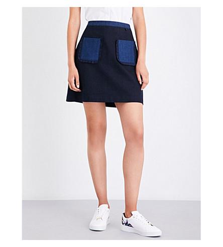 TED BAKER Contrast-pocket denim skirt (Mid+wash