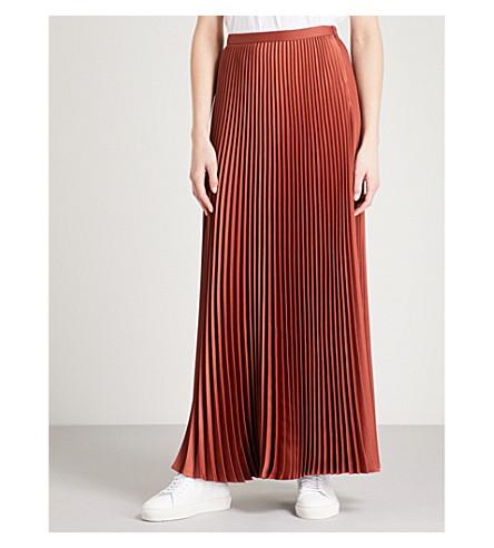 TED BAKER Byirdie pleated satin maxi skirt (Brown