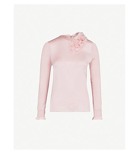 TED BAKER Clerer satin-panelled cotton-blend jumper (Baby+pink