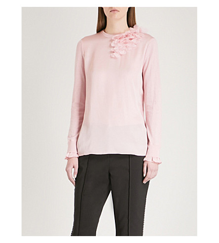 TED BAKER Clerer satin-panelled cotton-blend jumper (Baby+pink