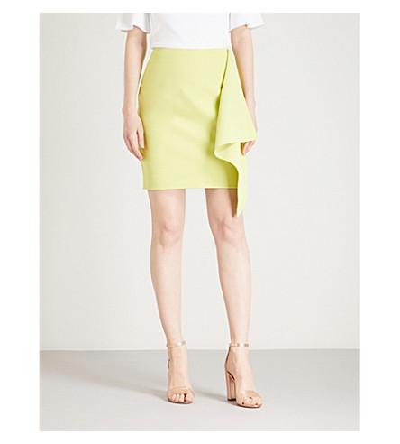 TED BAKER Asymmetric frill crepe skirt (Lime