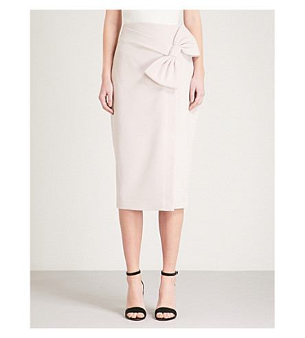 TED BAKER Bow woven pencil skirt (Baby+pink