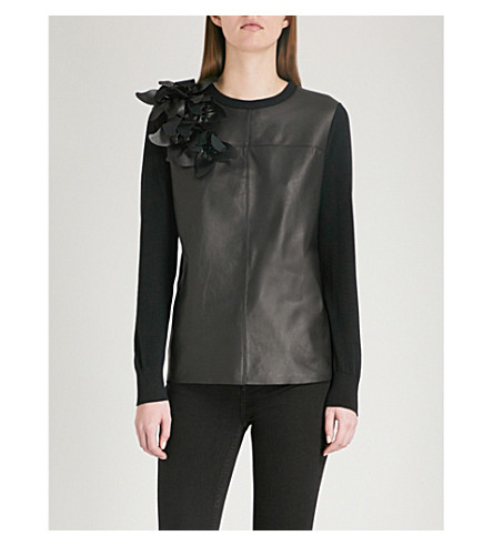 TED BAKER Fleuie flower-embellished knitted jumper (Black