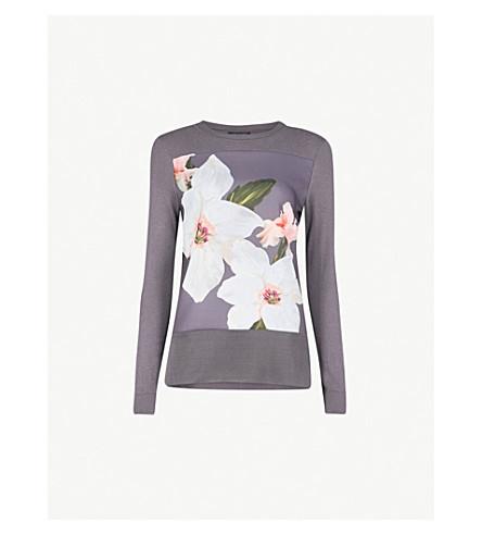 TED BAKER Jiosefi Chatsworth cotton-blend jumper (Grey