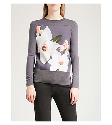 TED BAKER Jiosefi Chatsworth cotton-blend jumper (Grey