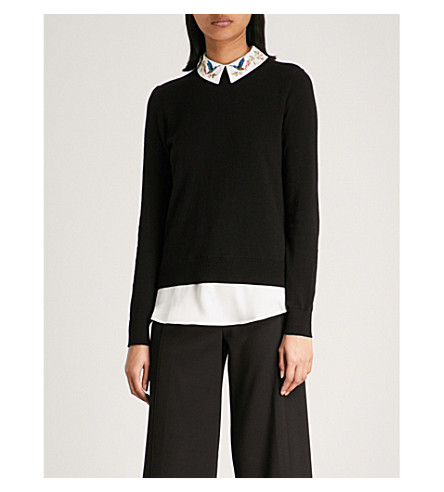 TED BAKER Kentro embroidered-collar knitted jumper (Black