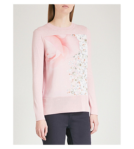 TED BAKER Makalya Blenheim Palace-print knitted jumper (Dusky+pink