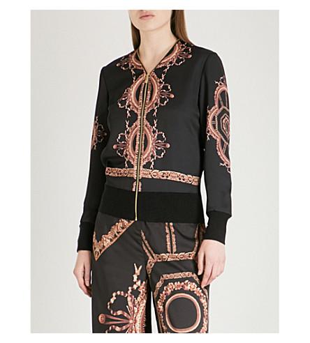 TED BAKER Versailles-print satin cardigan (Black