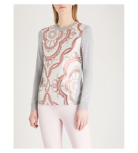 TED BAKER Millier Versailles-jacquard knitted jumper (Light+grey