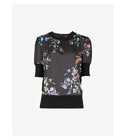 TED BAKER Natiee Opulent Fauna-print knitted jumper (Black