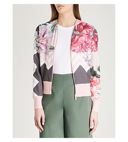 TED BAKER Pakrom Palace Gardens-print crepe and knitted cardigan (Dusky+pink