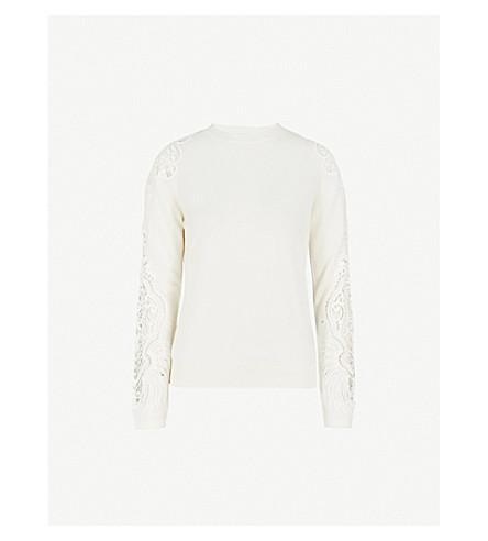 TED BAKER Shelsin floral-lace wool-blend jumper (Ivory