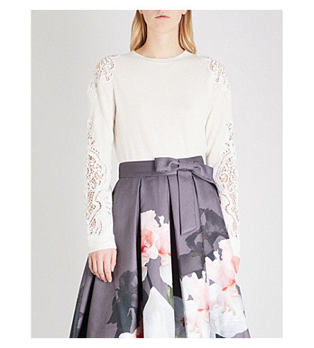 TED BAKER Shelsin floral-lace wool-blend jumper (Ivory
