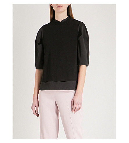 TED BAKER Taylahi satin and woven jumper (Black