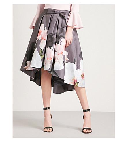 TED BAKER Thali Chatsworth asymmetric pleated jacquard midi skirt (Grey