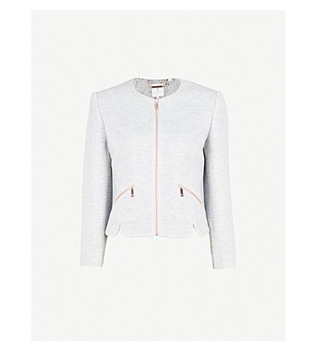 TED BAKER Hatie shaped-hem cropped jacket (Grey