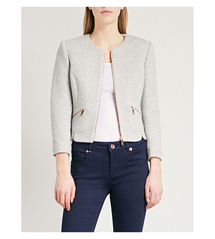 TED BAKER Hatie shaped-hem cropped jacket (Grey