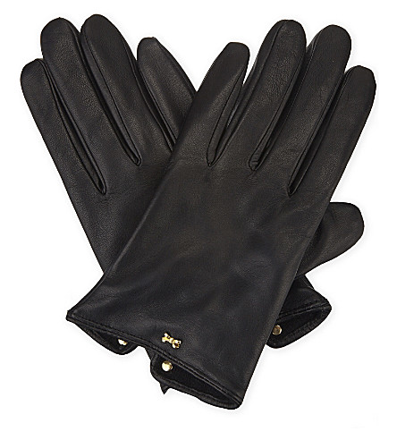 TED BAKER Bowsii leather gloves (Black
