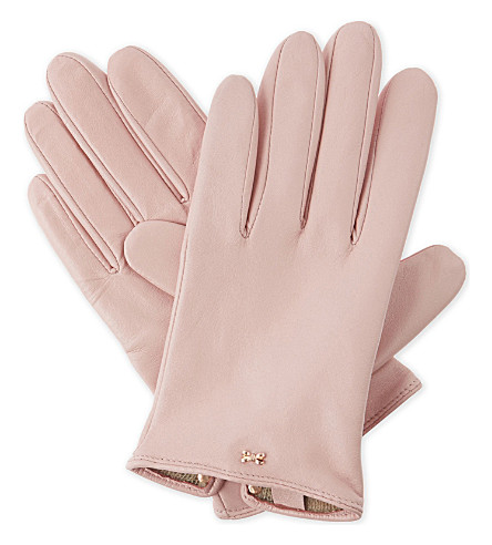 TED BAKER Bowsii leather gloves (Light pink