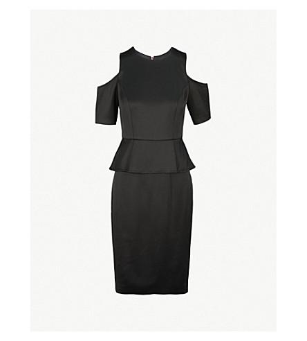 TED BAKER Polard cold-shoulder satin dress (Black