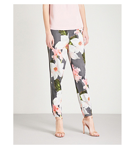 TED BAKER Aiimy Chatsworth Bloom-print tapered satin trousers (Grey