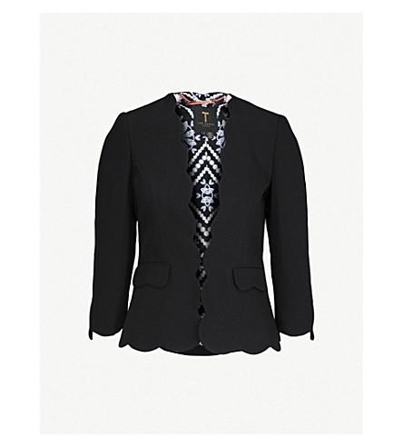 TED BAKER Rubeye scalloped-trim woven blazer (Black