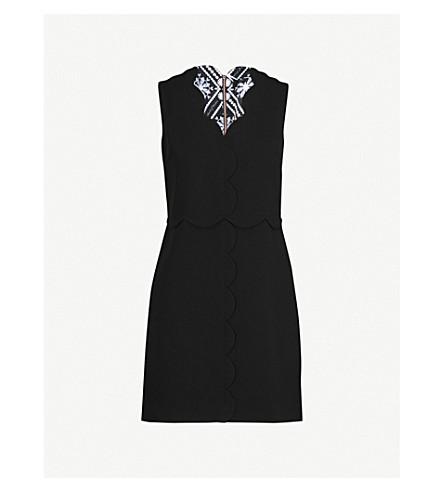 TED BAKER Scalloped-edge woven dress (Black