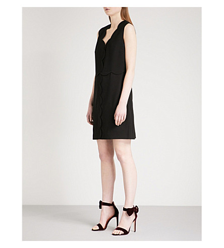 TED BAKER Scalloped-edge woven dress (Black