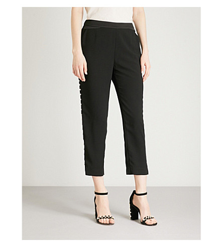 TED BAKER Carlaa slim-fit straight high-rise crepe trousers (Black