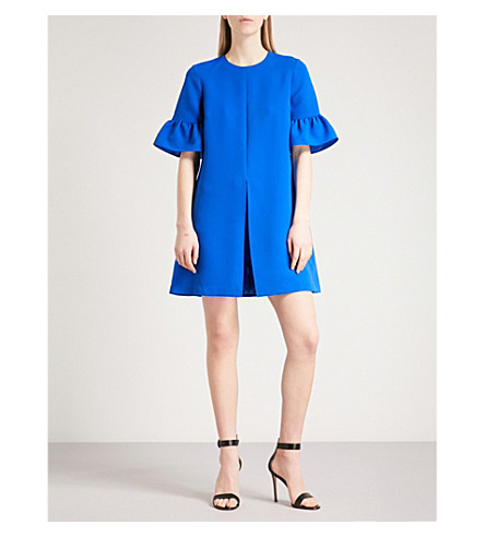 TED BAKER Flared-sleeve crepe playsuit (Mid+blue