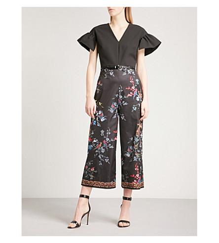 TED BAKER Fauna floral-print crepe jumpsuit (Black