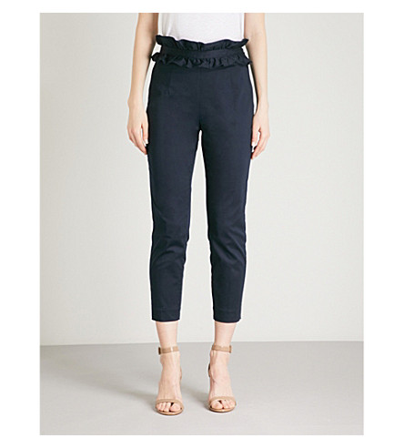 TED BAKER Saleana tapered stretch-cotton trousers (Navy