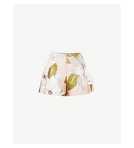 TED BAKER Teyyla Chatsworth Bloom-print jacquard shorts (Dusky+pink