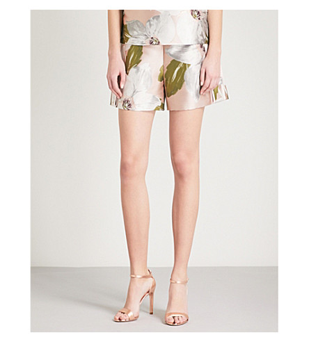 TED BAKER Teyyla Chatsworth Bloom-print jacquard shorts (Dusky+pink