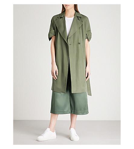 TED BAKER Biibi bow-cuff satin-twill trench coat (Dark+green