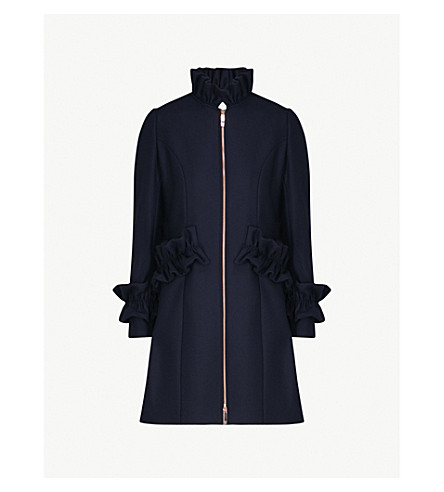 TED BAKER Blaykly ruched wool-blend coat (Navy