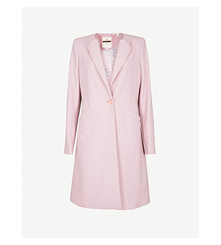 TED BAKER Collarless wool-blend coat (Dusky+pink