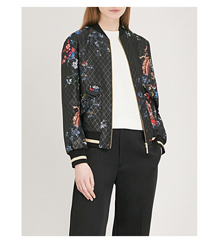 TED BAKER Joollia fauna-print woven bomber jacket (Black