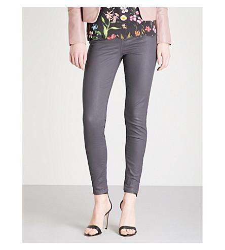TED BAKER Coated stretch-denim jeans (Grey